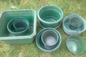 Job lot plastic resin garden plant pots