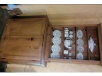 Antique pine bookshelf and cupboard