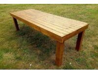 rustic pine wood garden outdoor table