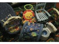cot, bouncer, play gym, tunnel, potty, rocking chair, walker