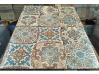 TILES JOB LOT 03: Vintage Moroccan design, patterned porcelain floor & wall tiles 25x25cm - 15 sqm