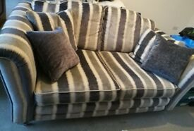 Alston's floral 3 seater, striped 2 seater and plain single chair