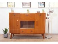 Vintage Mid Century Medium Teak Retro Sideboard Drinks Cabinet #354