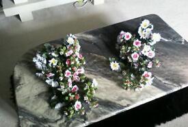 Two,Beautiful wedding flowers ,cart or display