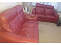 VGC Furniture Village PALOMA Deep Red / Cherry Red Leather 2 and 3 Seat Recliner Sofas