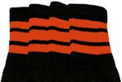 "Knee High Orange Socks (22"" KNEE HIGH BLACK tube socks with ORANGE stripes style 1 (22-52))"