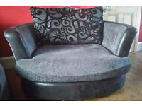 2 x identical two-seater cuddle chairs - very good condition on both