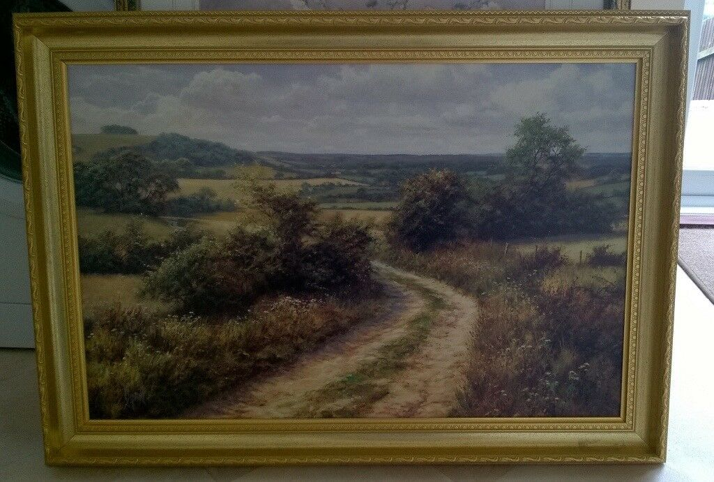 2e1eb1f6d3a Two large gold frame colour paintings. Cwmbran