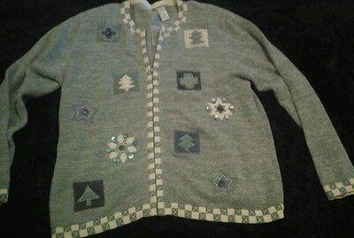 Ugly Billig Weihnachten Pullover Grün & Weiß Bäume Schneeflocken Kreuze Stars L ()