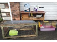 Guinea Pig package - wooden hutch, metal run, plastic cage, bedding, food - Larne/Belfast, £70