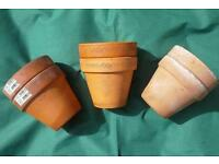 Six terracotta garden plant pots, same size 5.5 inches high x 6.25 inches diam.