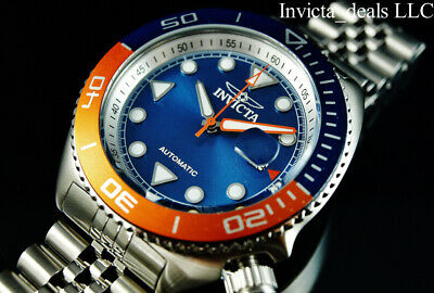 Invicta Men's 47mm Pro Diver SEA WOLF AUTOMATIC Blue & Orange Tone Silver Watch