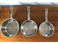 Set of 3 Hahn Saucepans (20, 18 & 16cm) & 2 Lids (18 & 16cm)