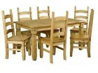 Corona pine dining table and 6 chairs - New