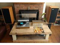 Vintage vinyl system. Garrard gt20 turntable, Trio KA1200G amplifier, Celestion Ditton 15 speakers.