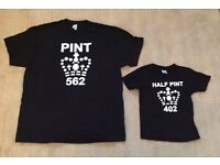 Men's XL & boys age 1-2 pint & half pint print t-shirts. Brand new. Would make ideal xmas present .