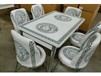 ✨MIRACULOUS SALE⭐VERSACE MEDUSA DESIGN EXTENDABLE GLASS DINING SET WITH FABRIC CHAIRS