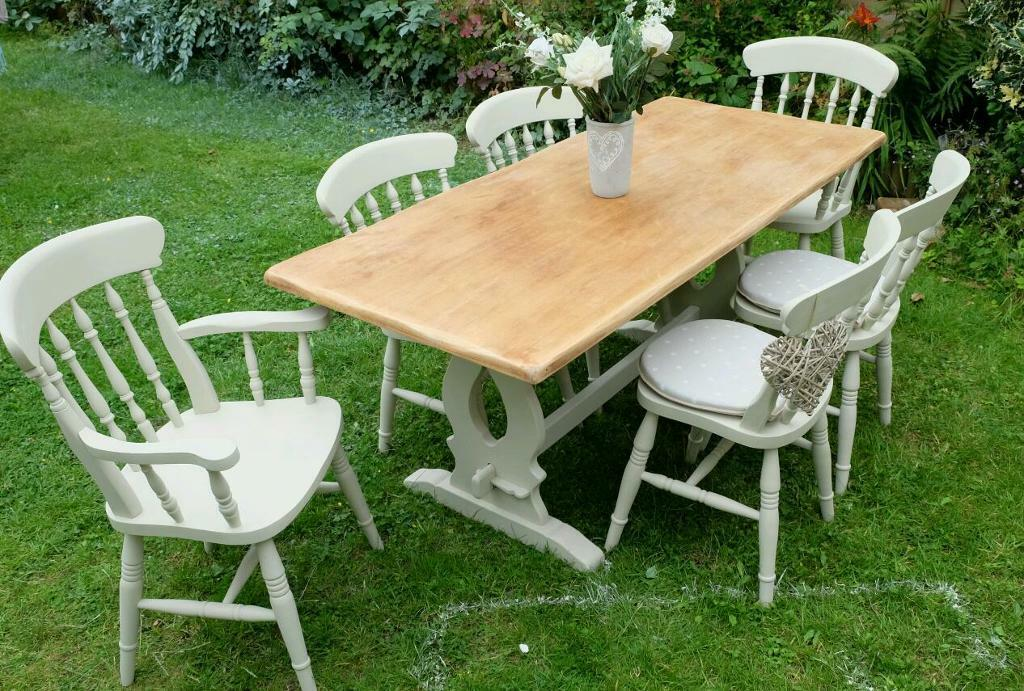 Shabby Chic Table And 6 Chairs In Wilmslow Cheshire