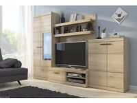 1-3 DAYS DELIVERY WESS TV Wall Unit Brand New Modern Set of Living room Furniture in Sanremo Oak