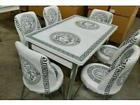 😍😍 💖💖PRICES NEVER BEFORE SALE😍😍 ON VERSACE GLASS EXTENDABLE DINING TABLE AND 6 CHAIRS