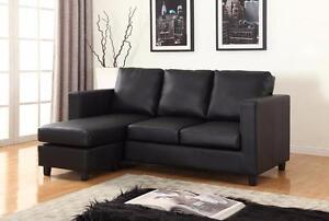 Clearance!  Leather Small Sectional with Reversible Chaise! Black, Cream, and Espresso!