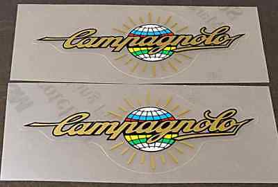 Chain guard decal Campagnolo in Black on Metallic Gold