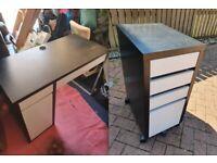 "Black/Brown IKEA ""MICKE"" Desk With White Drawers + Matching Drawer Set"