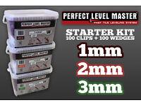 Perfect Level Master™ - Starter Kit - 100 Clips & 100 Wedges - Tile Leveling System - Uk Stockist