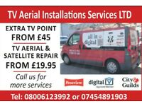 RAPID SAME DAY SERVICE Tv aerials From £129 & Repairs From £19.95 Satellite and cctv
