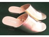 """NEW GOLD MULES. HEEL HEIGHT APPROX 2""""-2.5""""."""