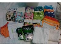 SOLD! Reusable Nappy Bundle, Little Lamb, Yellow Bloom