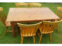 Farmhouse pine table and chairs set