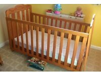 Mothercare cot converts to child's bed