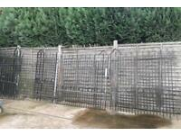 2 X TWO PAIRS OF VERY HEAVY WROUGHT IRON GATES PLUS MATCHING SINGLE GATE & RAILING