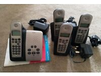 philips Onis vox 200 silver digital dect answerphone with 3 additional handsets