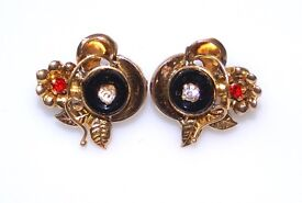 STUNNING 19CT GOLD RUBY & DIAMONTE LEVERBACK EARRINGS MADE IN PORTUGAL FULLY HALLMARKED WORK OF ART