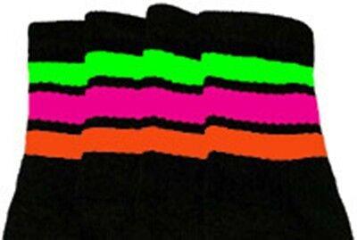 "Knee High Orange Socks (22"" KNEE HIGH BLACK tube socks w/ N.GREEN/H.PINK/ORANGE stripe style 1 (22-144))"