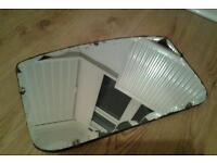 Original scalloped edge vintage wall mirror
