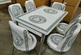 ⭐⭐SOLID VERSACE DESIGN EXTENDABLE DINING TABLE AND 6 CHAIRS FOR SALE