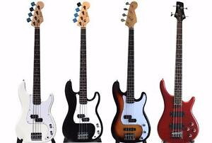 Bass Guitar Collection ! Black, White, Sunburst, Red and Acoustic Bass Guitar ! iMusicGuitar