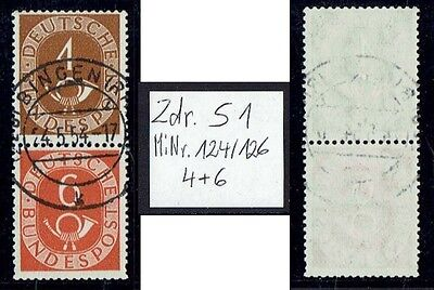 Bund Mi. Nr. 124 + 126 Posthorn Senkr. Zdr. S 1 aus MHB gestempelt aus 1951 (12)