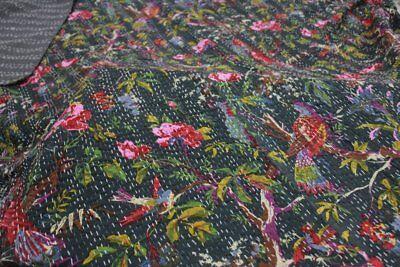 Indian Black Bird Paradise Kantha Handmade Cotton Quilt Blanket Twin Bedspreads