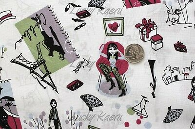 Yuwa Paris Eiffel Tower French Girls (Color A) Japanese Fabric Half Yard](Eiffel Tower A Girl)