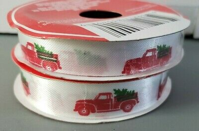 """Set of 2 Red Truck with Tree Christmas Ribbon 5/8""""W X 9FT LONG New 18' Total"""