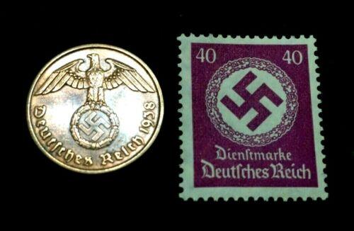 Rare Old WWII German War Coin 2 Reichspfennig & 40pf Stamp World War 2 Artifacts