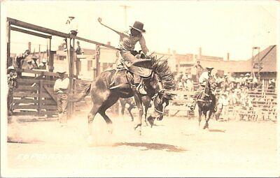 "RPPC Rodeo Scene North Platte Roundup Nebraska Ed Papra on ""Two Step"" 1930s"