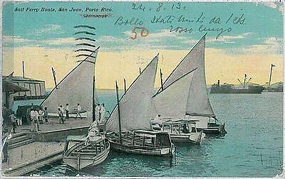 VINTAGE POSTCARD - PUERTO RICO : SAN JUAN - FERRY BOATS 1913