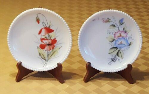 Vintage Westmoreland Beaded Edge Milk Glass Dessert Plates