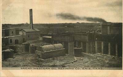 Postcard Great Western Oil Refining Company  Erie  Kansas   Used In 1906
