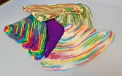 5 Handmade Multi-Color 100% Cotton Square Washcloths/Dishcloths